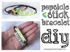 DIY upcycled popsicle stick bracelet tutorial