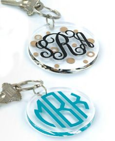 At only $14 this Acrylic Key Ring with Vinyl Monogram makes a great gift for that person you are not sure what to get. Think babysitter, tutor, neighbor, sorority pledge! They will love it.