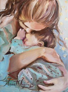 Art Sketches, Art Drawings, Grand Art, Baby Hug, Mother Art, Mothers Love, Portrait Art, Beautiful Paintings, New Art