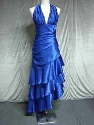 Blue ruffled semi formal dress