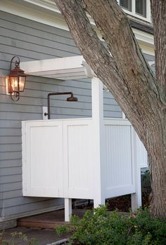 outdoor shower design ideas, metal and wooden shower enclosure Outdoor Spaces, Outdoor Living, Outdoor Decor, Outdoor Lantern, Outdoor Forts, Indoor Outdoor, Outdoor Shower Inspiration, Outside Showers, Outdoor Showers