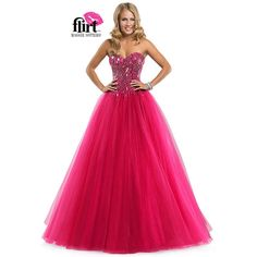 Flirt by Maggie Sottero 2014 Prom Dresses - Vivid Fuchsia Sparkle... (495 AUD) ❤ liked on Polyvore featuring dresses, gowns, prom ball gowns, tulle gown, prom dresses, pink sparkly dress and pink ball gown