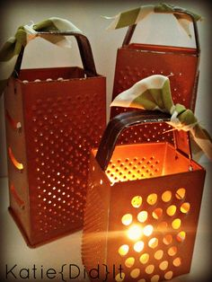 Cheese Grater {Pumpkins} cute idea for something fast and simple. What about Christmas, paint it red or green and tie bows on top with holly. I am going to the thrift store today...make them out of all sizes and styles...fun!