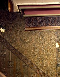 Lincrusta wallpaper on the stairway, Roseland Cottage, Woodstock, Conn. | Historic New England properties photographic collection (PC006) --...