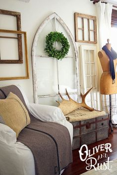 LOVE the trunk with the grain sack and moose antlers!!!  Will try and do this in the living room or maybe dining room.  Love it, love it, love it!