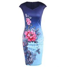 Cape Sleeve Tie Dye Floral Print Fitted Dress, DEEP BLUE, XL in Vintage Dresses | DressLily.com