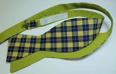 self tie bow tie cotton plaid navy yellow white and lime green