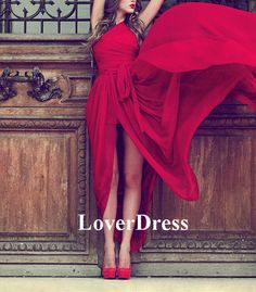Long Prom Dress with Slit Front Slit One Shoulder by LoverDress