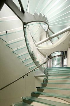 All glass staircase, spiral