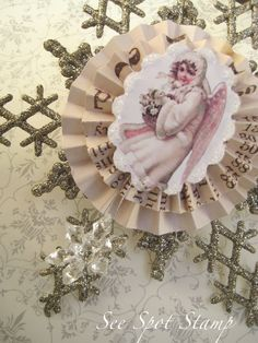 Items similar to Vintage Christmas Ornament Snowflake Ornament Angel Christmas Ornament paper rosettes german glass glitter Beautiful Platinum Silver pink on Etsy. , via Etsy.