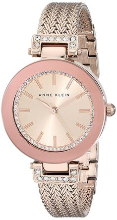Anne Klein Women's AK/1906RGRG Swarovski Crystal Accented Rose Gold-Tone Mesh Bracelet Watch *** Read more at the image link.