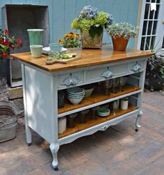 Old chest of draws transformed into a beautiful kitchen island.