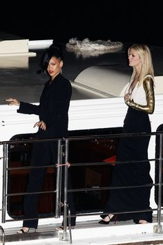 "Rihanna and Brooklyn Decker arrive at the ""Battleship"" Australian premiere at Luna Park on April 10, 2012 in Sydney, Australia."