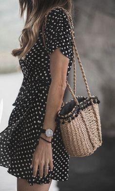 polka dot ruffle dress + straw pom tote bag + Daniel Wellington watch   summer outfits for women   summer street style looks