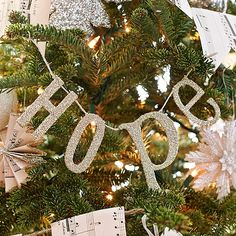 Words as Ornaments - It's simple to create your own ornament message for the holiday tree (or a mantel or window). Choose chipboard letters that spell a word or message. Coat with glue and glitter, then string on hemp twine.