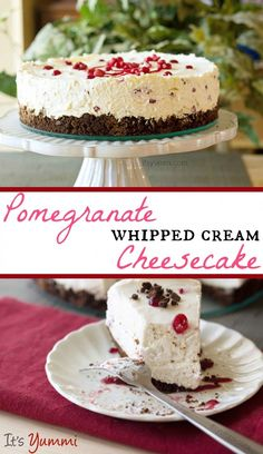 This pomegranate no bake whipped cream cheesecake from itsyummi.com is light and fluffy. It's a fancy dessert for any holiday, but easy enough to make any time.