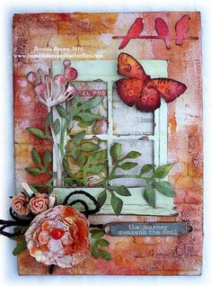 Bumblebees and Butterflies: Spring View #decoartprojects #decoartmedia #mixedmedia