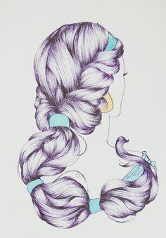 ジャスミン風のロングヘアー♡編み込みの仕組みがよくわかる 後ろから見た図