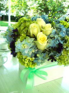 Detalle verde menta en el cento de mesa
