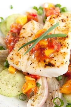 Healthy Recipes: Fish 5 Ways; Grilled halibut with ginger-mango chutney and Salmon with raspberry-balsamic glaze