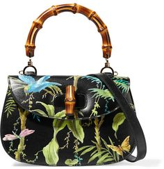 Gucci - Bamboo Classic Printed Textured-leather Shoulder Bag - Gucci's 'Bamboo Classic' bag is printed with a tropical forest scene featuring parrots and dragonflies. Made in Italy from textured-leather, this style has hand-painted edges and the brand's distinctive bamboo handle. We love it styled simply with jeans and a sweater. Use the optional strap to carry yours on the shoulder. Black
