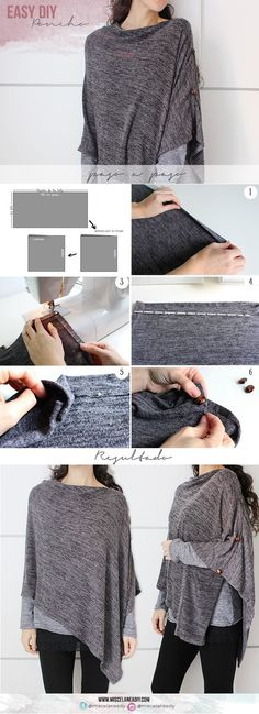 This week I bring you an express and very easy but very easy, as you have seen in the picture is this beautiful and warm poncho-blanket . Diy Clothing, Clothing Patterns, Sewing Patterns, Sewing Dress, Sewing Clothes, Dress Clothes, Diy Poncho, Blanket Poncho, Diy Fashion