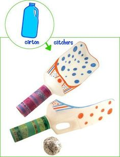 Carton Catchers - Start the day off by decorating catchers, and end the day with some outdoor/indoor fun. Fun Games, Games For Kids, Activities For Kids, Crafts For Kids, Family Crafts, Motor Activities, Recycled Toys, Recycled Crafts, Milk Jug Crafts