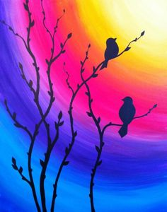 40 Acrylic Painting Tutorials & Ideas For Beginners - Brighter Craft - a.love - 40 Acrylic Painting Ideas For Beginners · Brighter Craft - Simple Acrylic Paintings, Acrylic Painting Tutorials, Easy Nature Paintings, Simple Oil Painting, Acrylic Painting Flowers, Vogel Silhouette, Bird Silhouette, Silhouette Painting, Canvas Silhouette