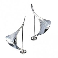 Sterling Silver contemporary Gingko Earrings.