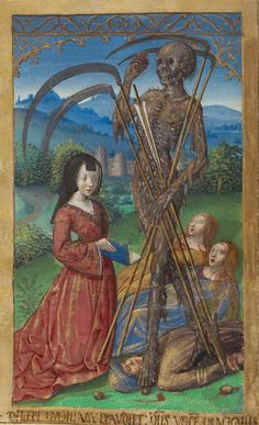 Denise Poncher before a Vision of Death, Master of the Chronique scandaleuse. From Les Heures Poncher. France. 1500