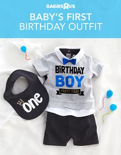 Baby turning one? Make sure he looks dapper on his big day with the perfect outfit. Your little one will be the star of the show in his #birthday shirt with a bow tie detail. And don't forget about the cake smash! Keep him as clean as possible with a #babysfirst birthday bib. Shop now!