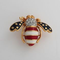 "Joan Rivers Goldtone Stars & Stripes 1-1/8"" Bee Pin #JoanRivers"