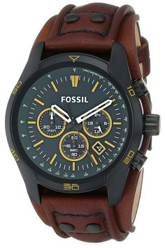 Amazon.com: Fossil Men's CH2923 Coachman Chronograph Leather Watch - Brown with Green Dial: Watches