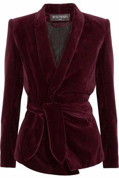 Balmain - Belted velvet blazer Merlot velvet Slips on cotton, elastane; Balmain Jacket, Balmain Blazer, Burgundy Blazer, Brown Blazer, Brown Jacket, Slim Fit Jackets, Velvet Blazer, Red Velvet Jacket, Red Velvet Dress