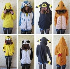 Cute Umbreon, Charmander, and Pikachu hoodies! (not the owl or panda or tiger as much but theyre neat too)