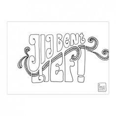 0052-De_Kaartjes_Kamer-jij-bent-lief Handlettering For Beginners, Bujo, Learning To Write, Letter Art, Word Art, Handwriting, Something To Do, Texts, Doodles