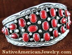 H480N - Native American Jewelry | Navajo Indian Bracelet | Coral Jewelry