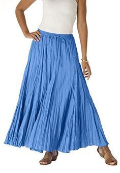 6df23b01759 Jessica London Women s Plus Size Cotton Crinkled Maxi Skirt Ultramarine