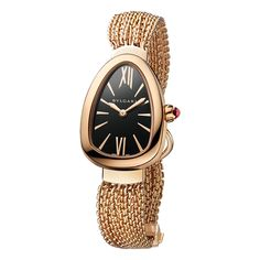 This Bulgari Serpenti wristwatch (ref. features a Swiss-made quartz movement; and rose gold case on an rose gold interchangeable multi-chain bracelet. Bvlgari Gold, Bvlgari Serpenti, Rose Gold Chain, 18k Rose Gold, Popular Watches, Watches For Men, Stylish Watches, Luxury Watches, Bvlgari Watches