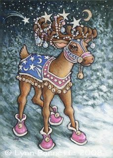 Art by Lynn Bonnette: COMET is a master of astronomy and an expert at celestial navigation. He is the head of the astrophysics department at the University of the North Pole. Because of his extreme intelligence and excellent sense of direction he occupies the position #6 behind Prancer and beside Cupid in the line up of Santa's Christmas Eve delivery team.