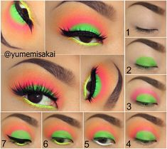 Eye make up tutorial Neon Eyeshadow, Eyeshadow Makeup, 80s Eye Makeup, 1980s Makeup, Maybelline Eyeshadow, Makeup Contouring, Eyeshadow Palette, Makeup Eye Looks, Beauty Makeup