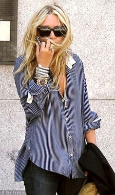 Boyfriend shirt--easy to wear and effortless but don't forget some accessories to give it the chic girl look. Love!