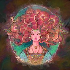 A version of Medusa inspired by the portraits of Tudor-era England and psychedelic imagery. Medusa Art, Medusa Gorgon, Medusa Tattoo, Fantasy Paintings, Fantasy Art, Deviant Art, Medusa Pictures, Greek Monsters, Rome Antique