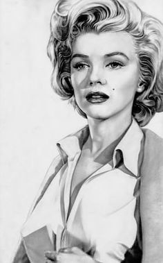 Marilyn Monroe drawing. Artist: Robert Scott Chiarella | This image first pinned to Marilyn Monroe Art board, here: http://pinterest.com/fairbanksgrafix/marilyn-monroe-art/ || #Art #MarilynMonroe