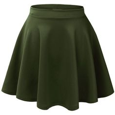 LE3NO Womens Basic Versatile Stretchy Flared Skater Skirt ($13) ❤ liked on Polyvore featuring skirts, flared skater skirt, layered skirt, fitted skirts, skater skirt and green skater skirt
