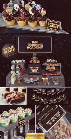 Star Wars birthday party ideas and dessert table http://www.hellomysweet.me #starwars #birthday #party #ideas #star #wars #boys #space #printable #DIY