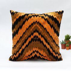 Mid Century Modern velvet upholstery fabric pillow cover  40x40 16x16 in orange and black