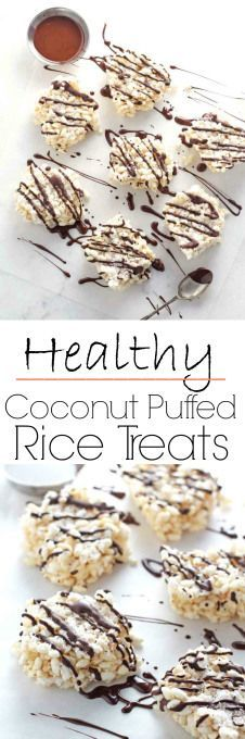 Gluten and dairy free, these Coconut Puffed Rice Treats are super tasty and healthy but contain no marshmallow or refined white sugar!