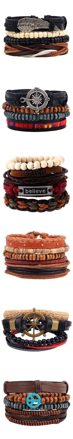 Hot selling 1Set 4pcs Punk Braided Adjustable Leather Bracelets Men For Women Cuff Vintage Jewelry Wholesale Pulseras Hombre