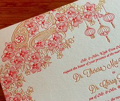 Planning a fusion or multicultural wedding? We have beautiful letterpress wedding invitation designs, including Mai